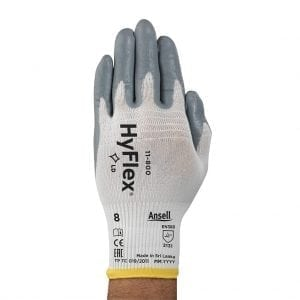 Ansell 11-800 Hyflex Palm Side Coated White/Grey Nitrile Gloves