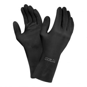 Ansell 87-950 Extra 75 Black Latex Gloves