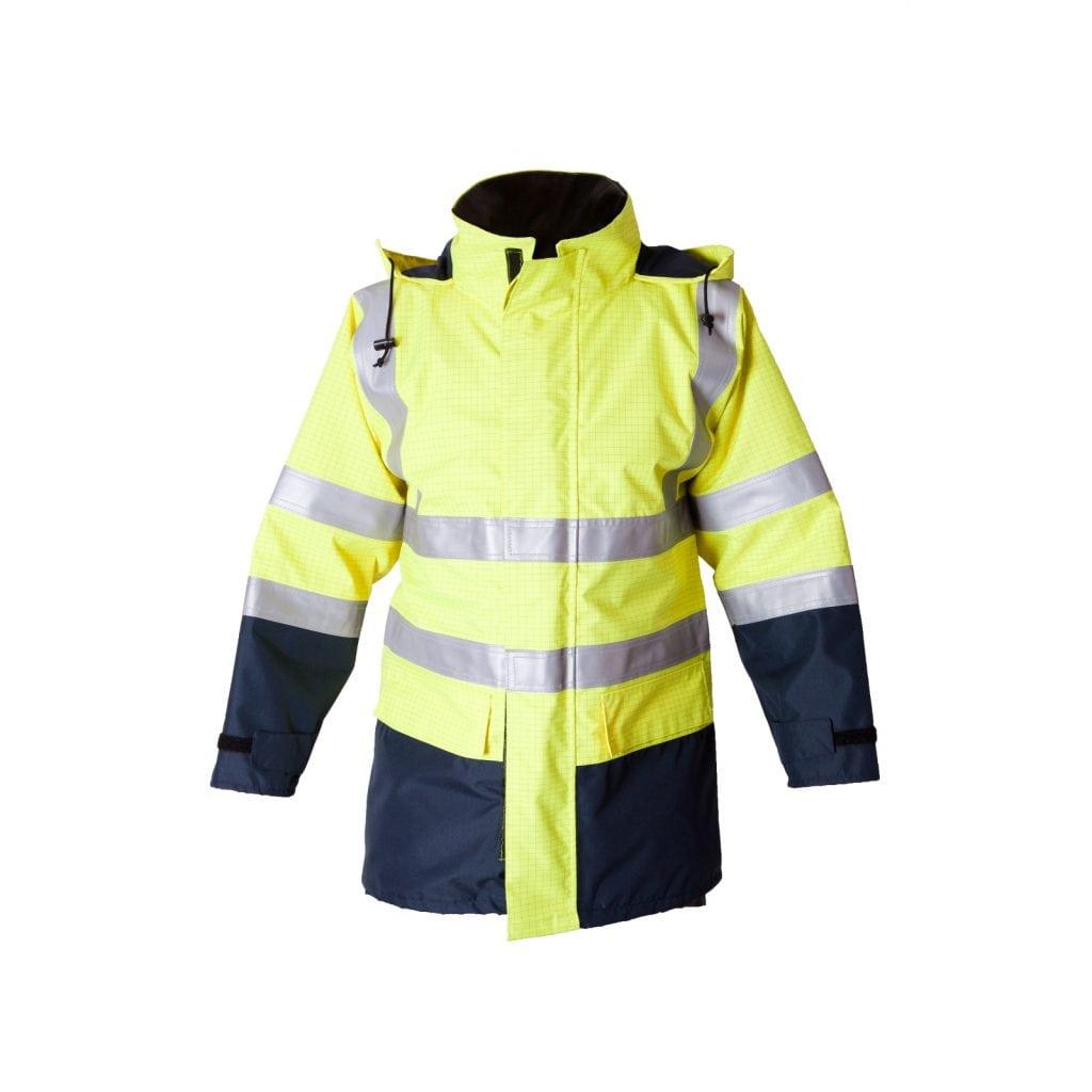 2e032b7e9eb8 ... Flame Resistant Anti-Static Navy   Yellow Hi Vis Waterproof Jacket. 🔍.  ETF1901AE - Eagle FR Hi Vis Waterproof Jacket